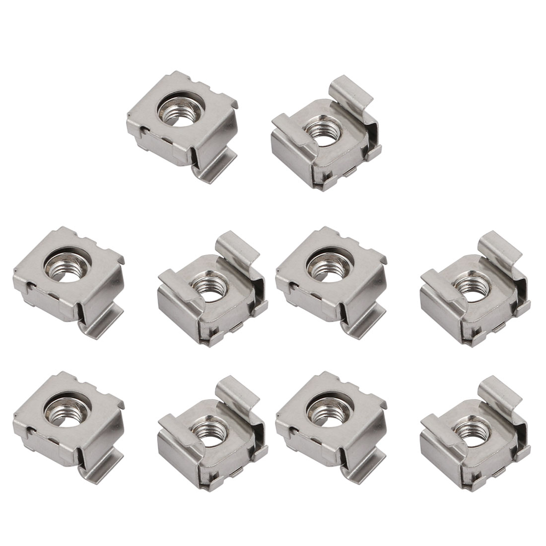 10pcs M5 304 Stainless Steel Cage Nut Silver Tone for Server Shelf Cabinet