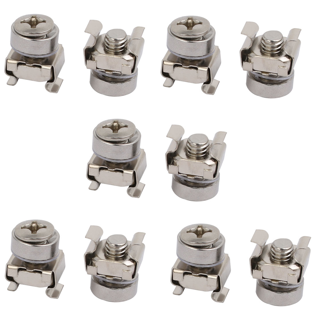 10pcs M6 Cage Nuts w Mounting Screws Washers Silver Tone for Server Rack Cabinet