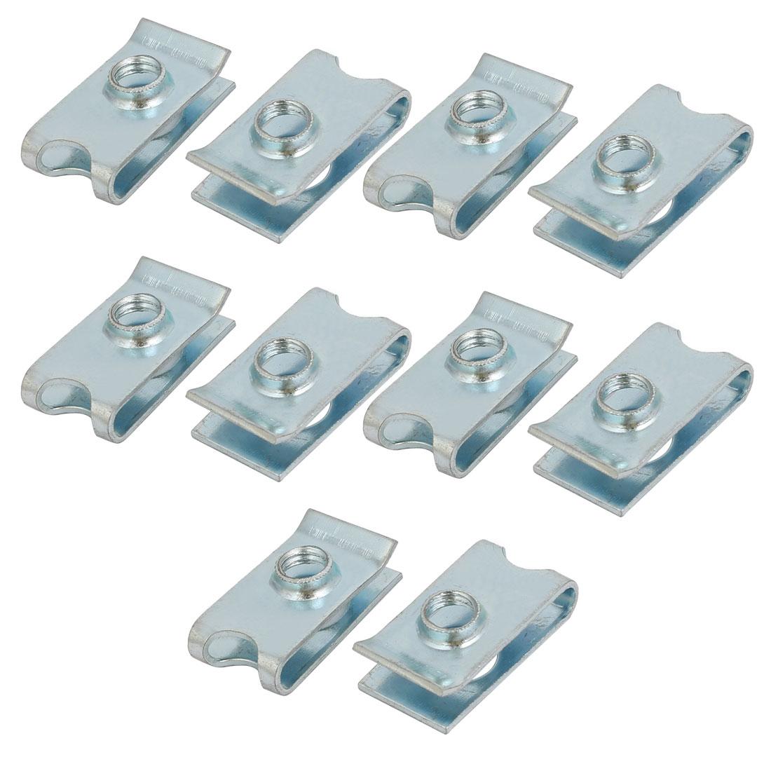 Fit M6 Screw 65Mn Spring Steel U Clip Nut Silver Tone 24mm x 13mm 10pcs