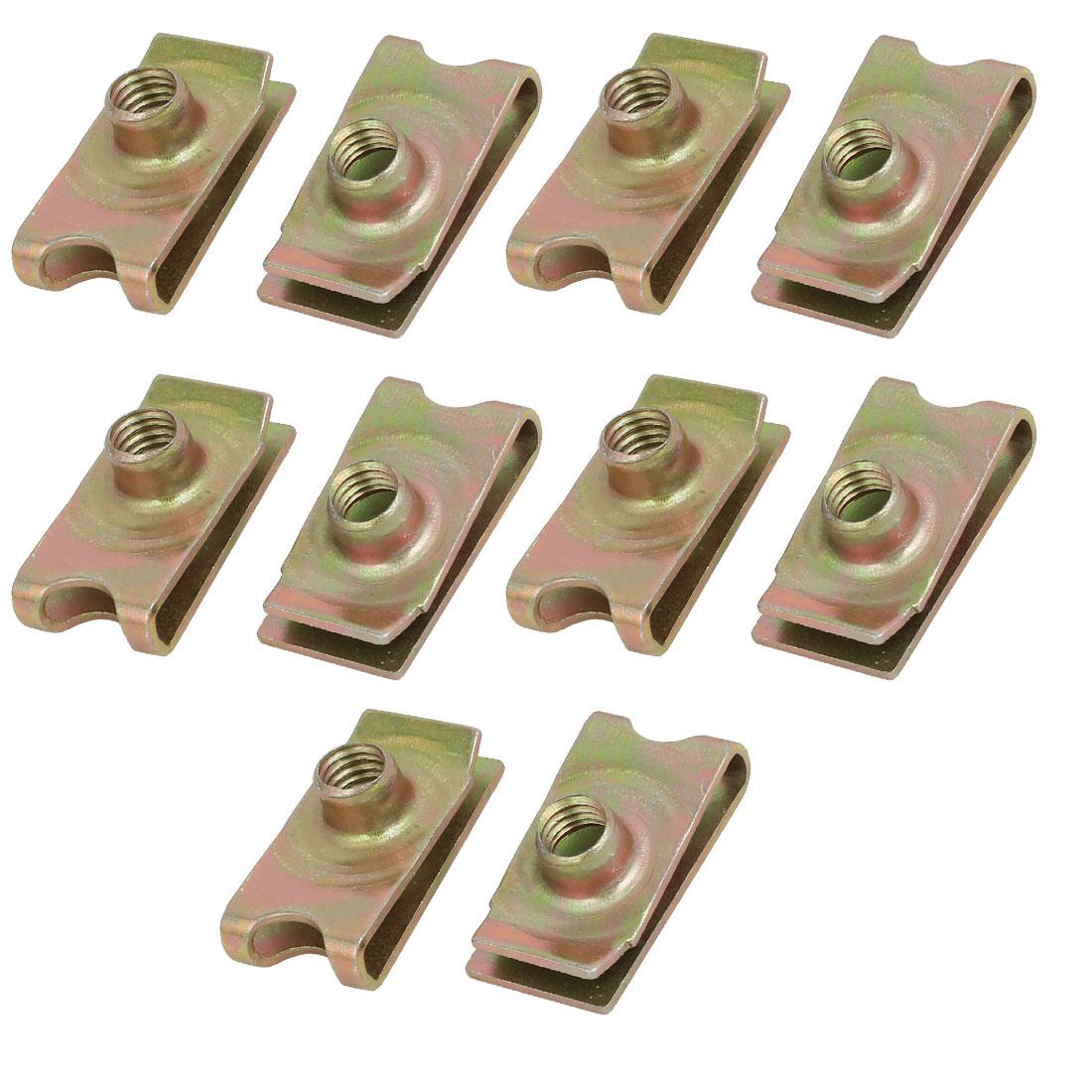 10pcs M6 Thread Size 65Mn Steel Zinc Plated Extruded U Nut Brass Tone 25mmx13mm