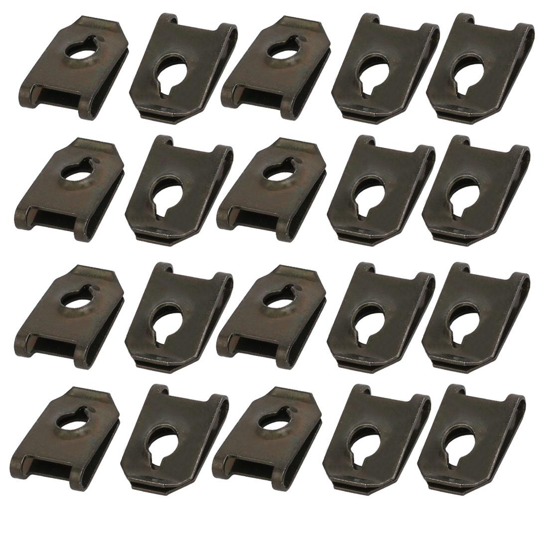 20pcs Fit ST6.3 Screw Size 65Mn Steel Speed Fastener U Nut Black 19.7mm x 12.6mm