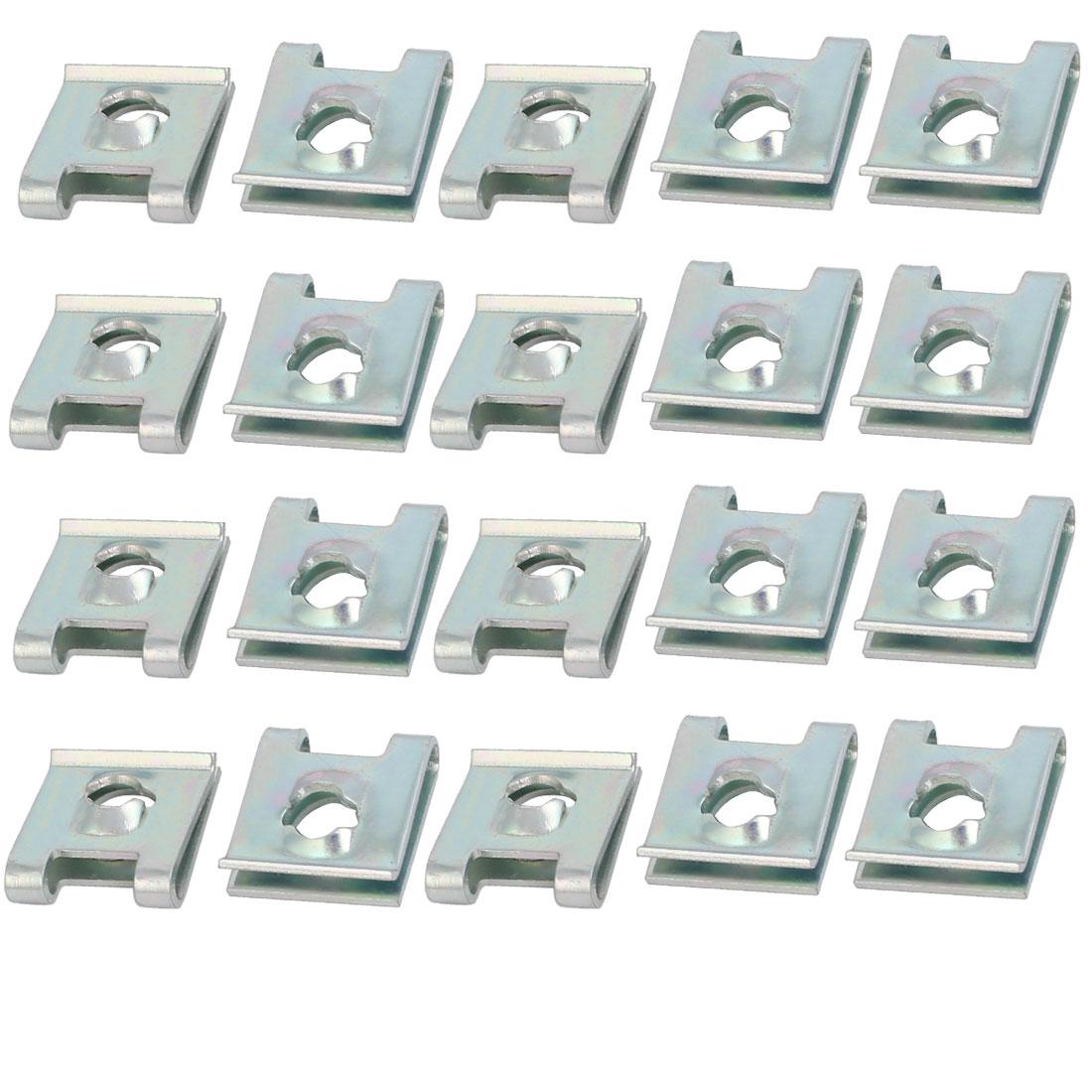 Fit M5/ST4.8 Screw 65Mn Spring Steel U Nut Silver Tone 14.3mm x 13.5mm 20pcs
