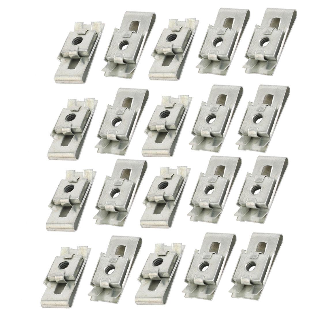 Fit M4 Screw 65Mn Spring Steel U Nut Silver Tone 25mm x 12.5mm 20pcs