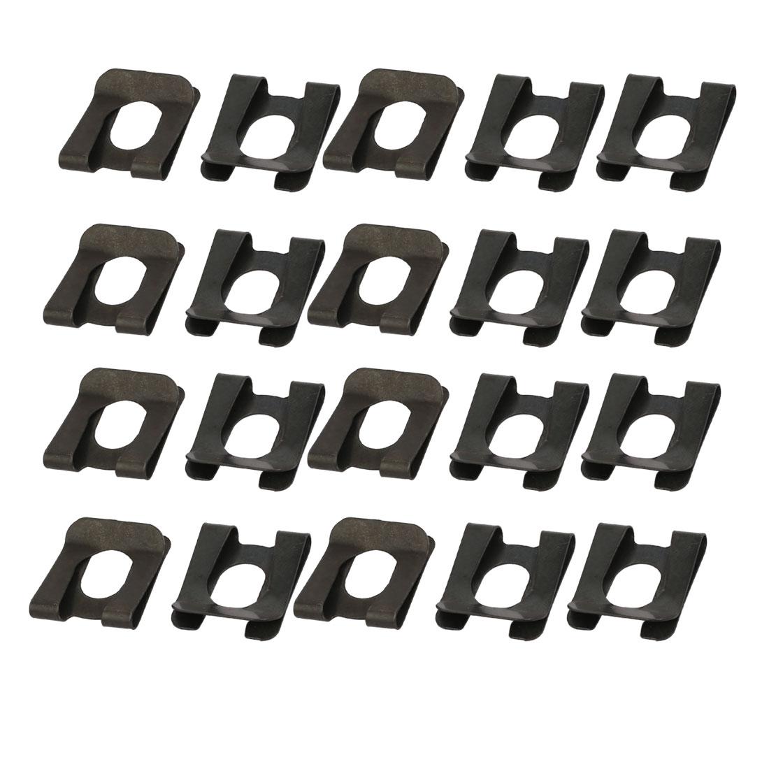 20pcs Fit 12mm Dia Bolt 65Mn Steel Spring U Clip Nut Black 25.5mm x 22mm
