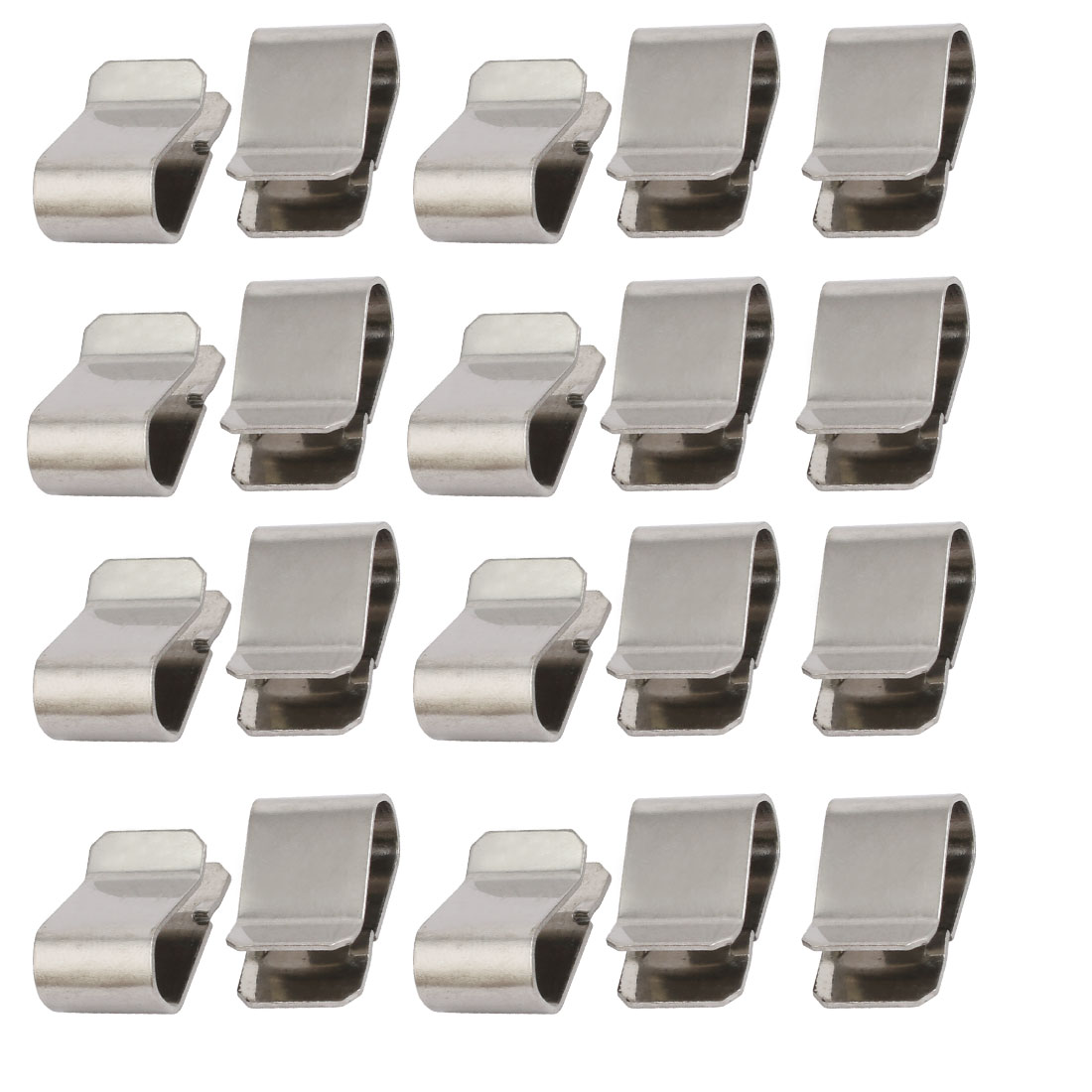 20pcs Stainless Steel Spring U Clip Silver Tone 21.4mm x 12mm