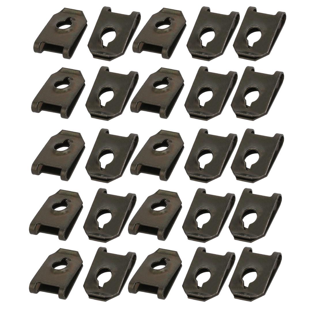25pcs Fit ST6.3 Screw Size 65Mn Steel Speed Fastener U Nut Black 19.7mm x 12.6mm