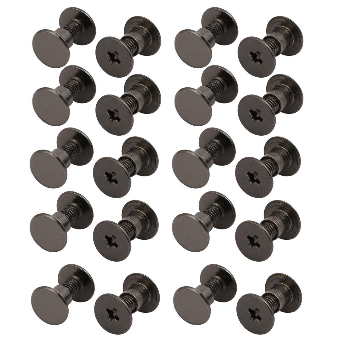 20pcs M4x7mm Carbon Steel Phillips Drive Head T-Nut Screw Kit Black