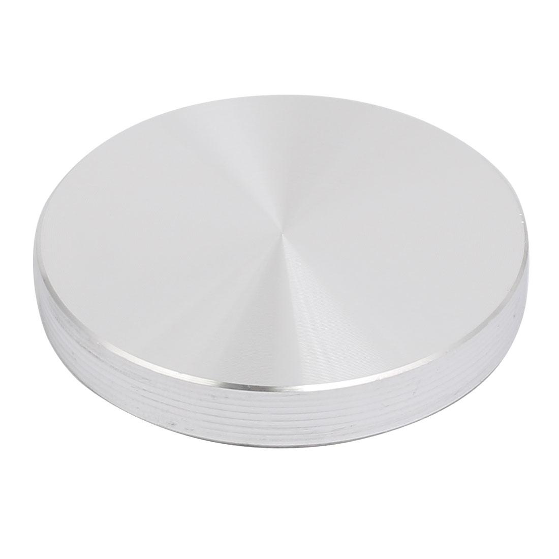 Aluminum Circle Disc Glass Top Adapter 8mm x 50mm Silver Tone w Screw
