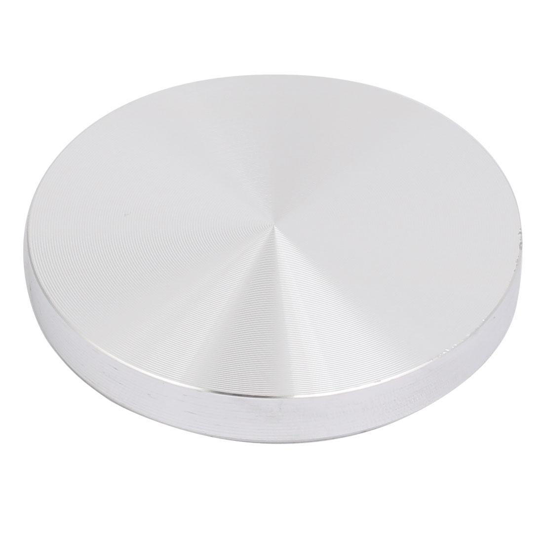 Aluminum Circle Disc Glass Top Adapter 8mmx60mm Silver Tone w M10x50mm Screw