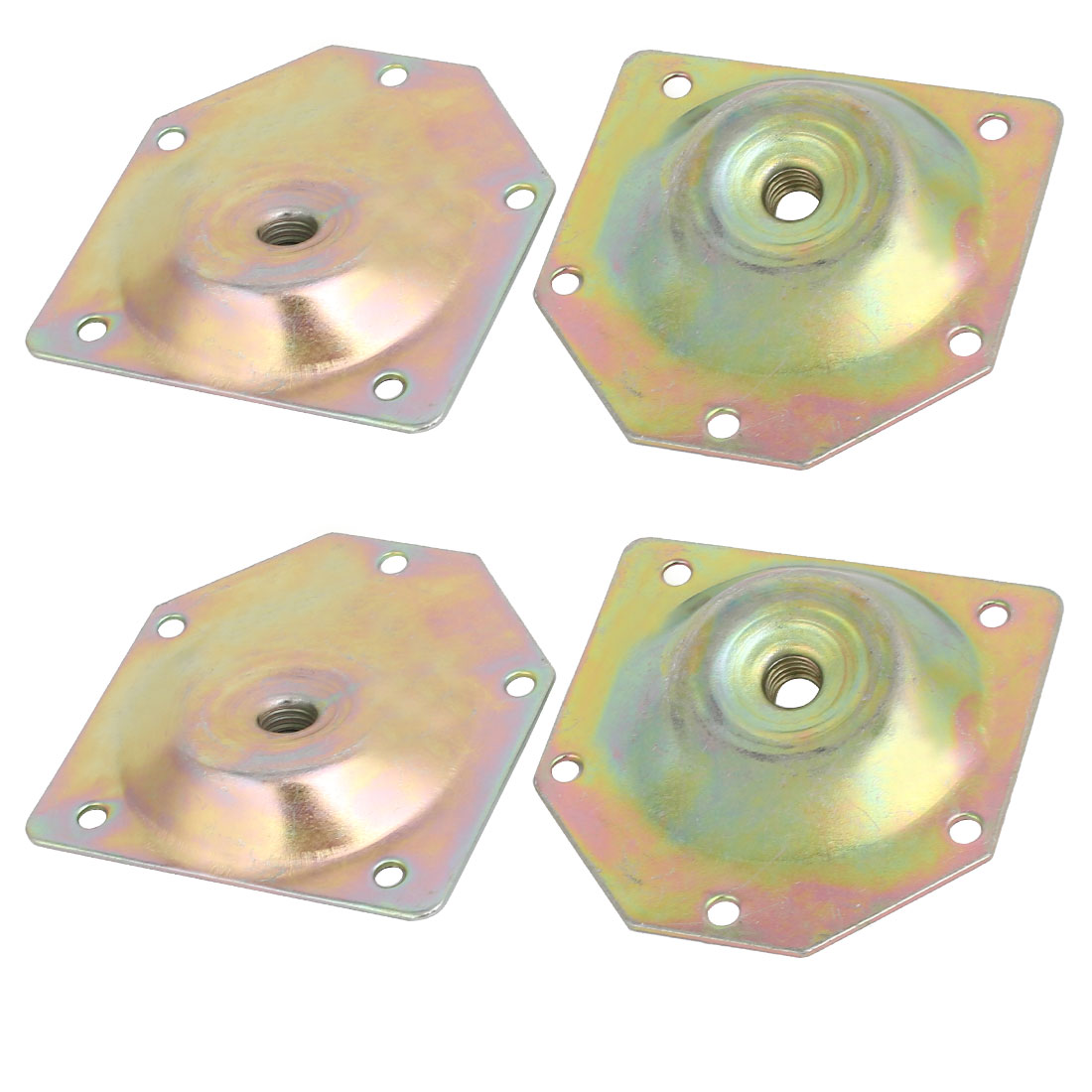 70mmx67mmx1.2mm Zinc Plated Table Leg Mounting Plates Bronze Tone 4pcs