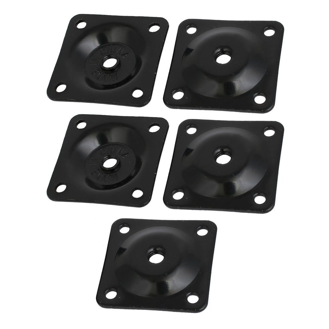 48mmx48mmx2mm Iron Table Leg Mounting Plates Black 5pcs