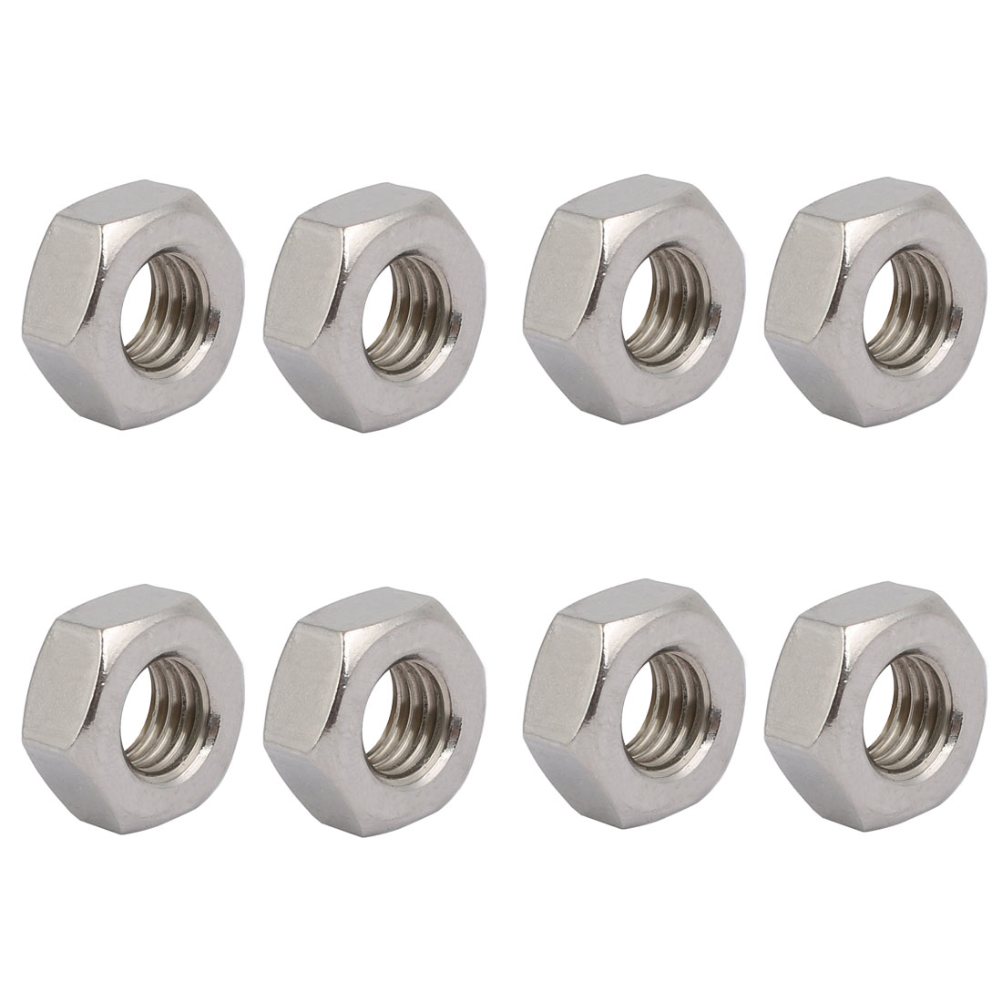 8pcs M10 x 1.5mm Pitch Metric Thread 304 Stainless Steel Left Hand Hex Nuts