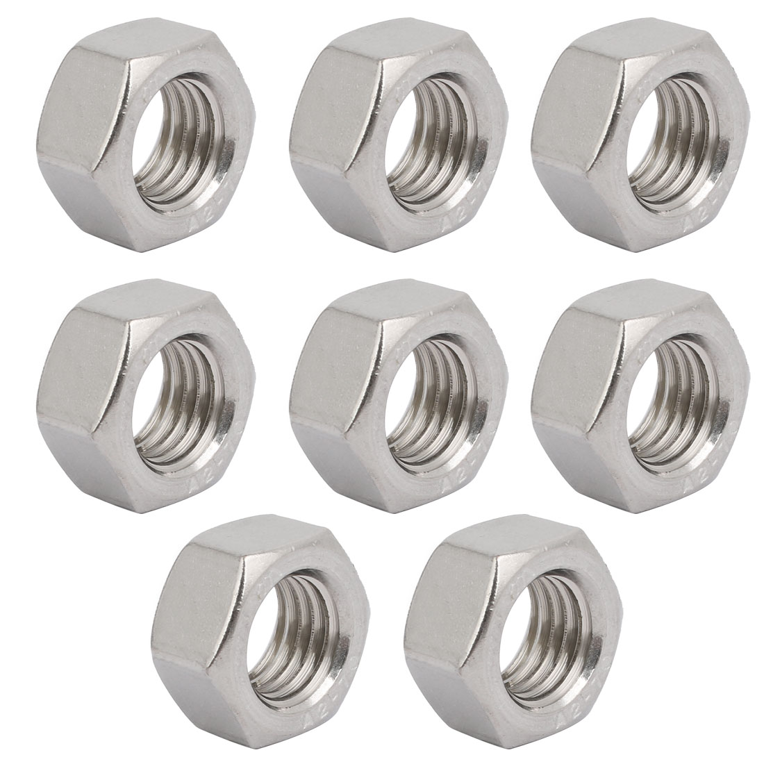 8pcs M18 x 2.5mm Pitch Metric Thread 304 Stainless Steel Left Hand Hex Nuts