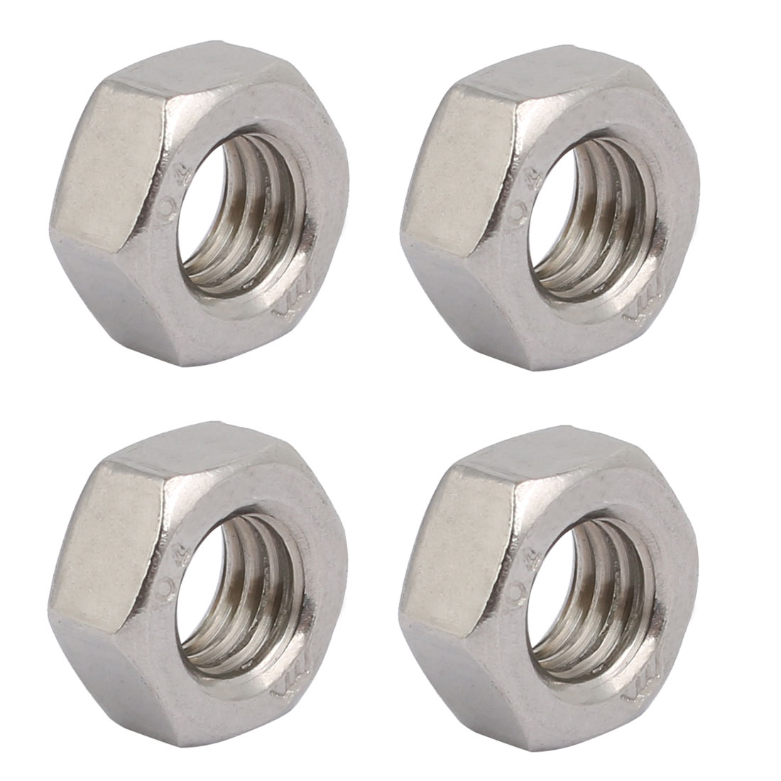 4pcs M8 x 1.25mm Pitch Metric Thread 201 Stainless Steel Left Hand Hex Nuts
