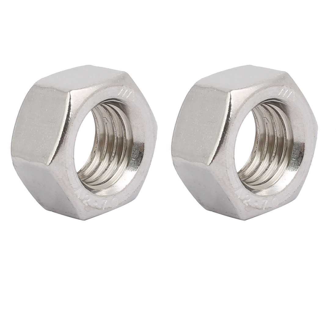 2pcs M18 x 2.5mm Pitch Metric Thread 201 Stainless Steel Left Hand Hex Nuts