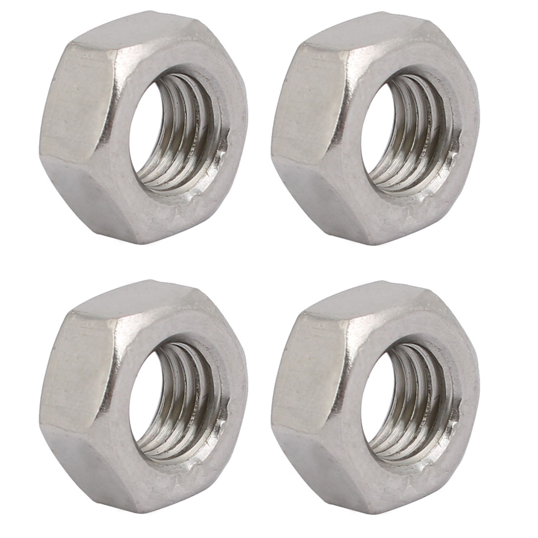 4pcs M8 x 1mm Pitch Metric Fine Thread 304 Stainless Steel Hex Nuts