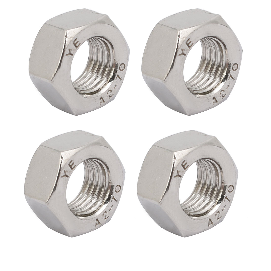 4pcs M12 x 1.5mm Pitch Metric Fine Thread 304 Stainless Steel Hex Nuts