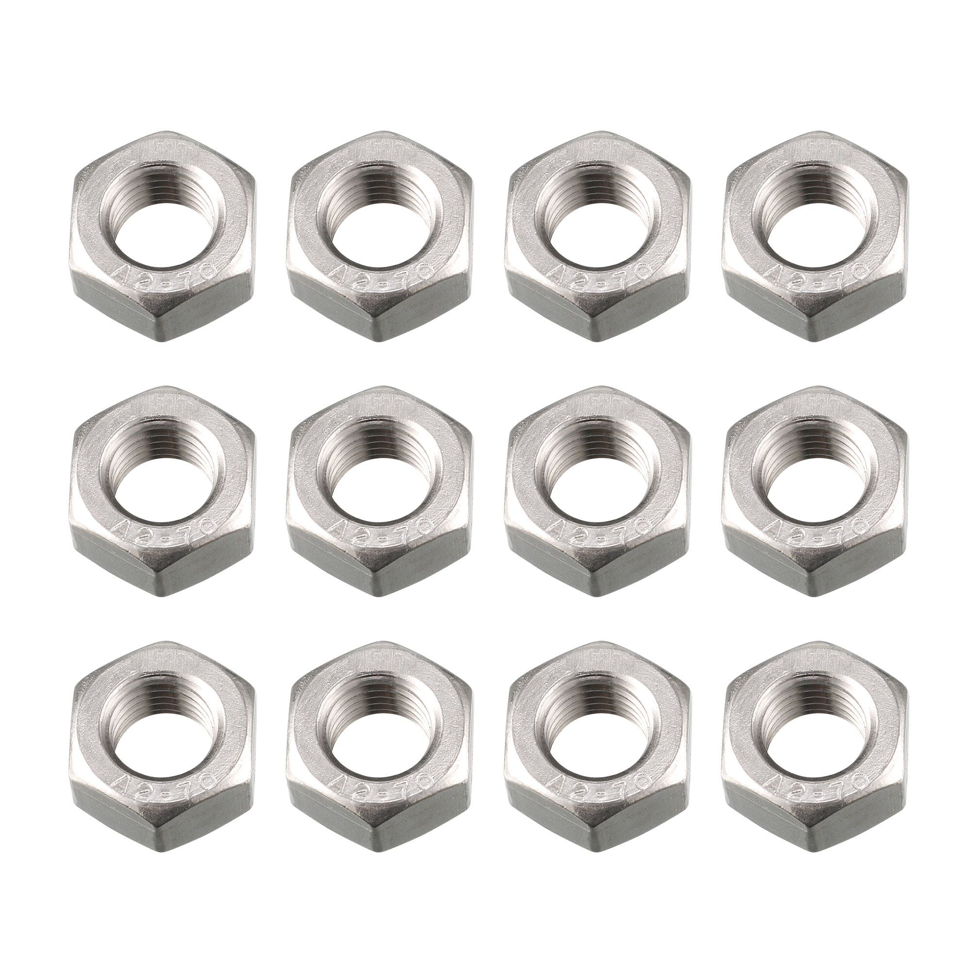 12pcs M12 x 1.5mm Pitch Metric Fine Thread 304 Stainless Steel Hex Nuts