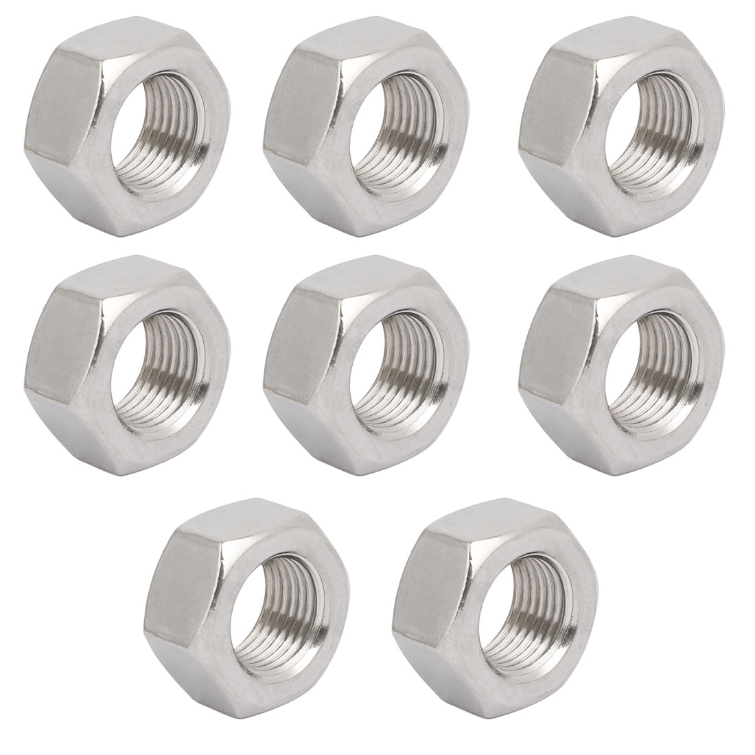 8pcs M16 x 1.5mm Pitch Metric Fine Thread 304 Stainless Steel Hex Nuts
