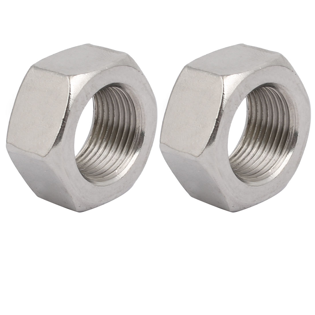 2pcs M20 x 1.5mm Pitch Metric Fine Thread 304 Stainless Steel Hex Nuts
