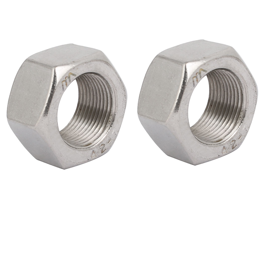 2pcs M22 x 1.5mm Pitch Metric Fine Thread 304 Stainless Steel Hex Nuts