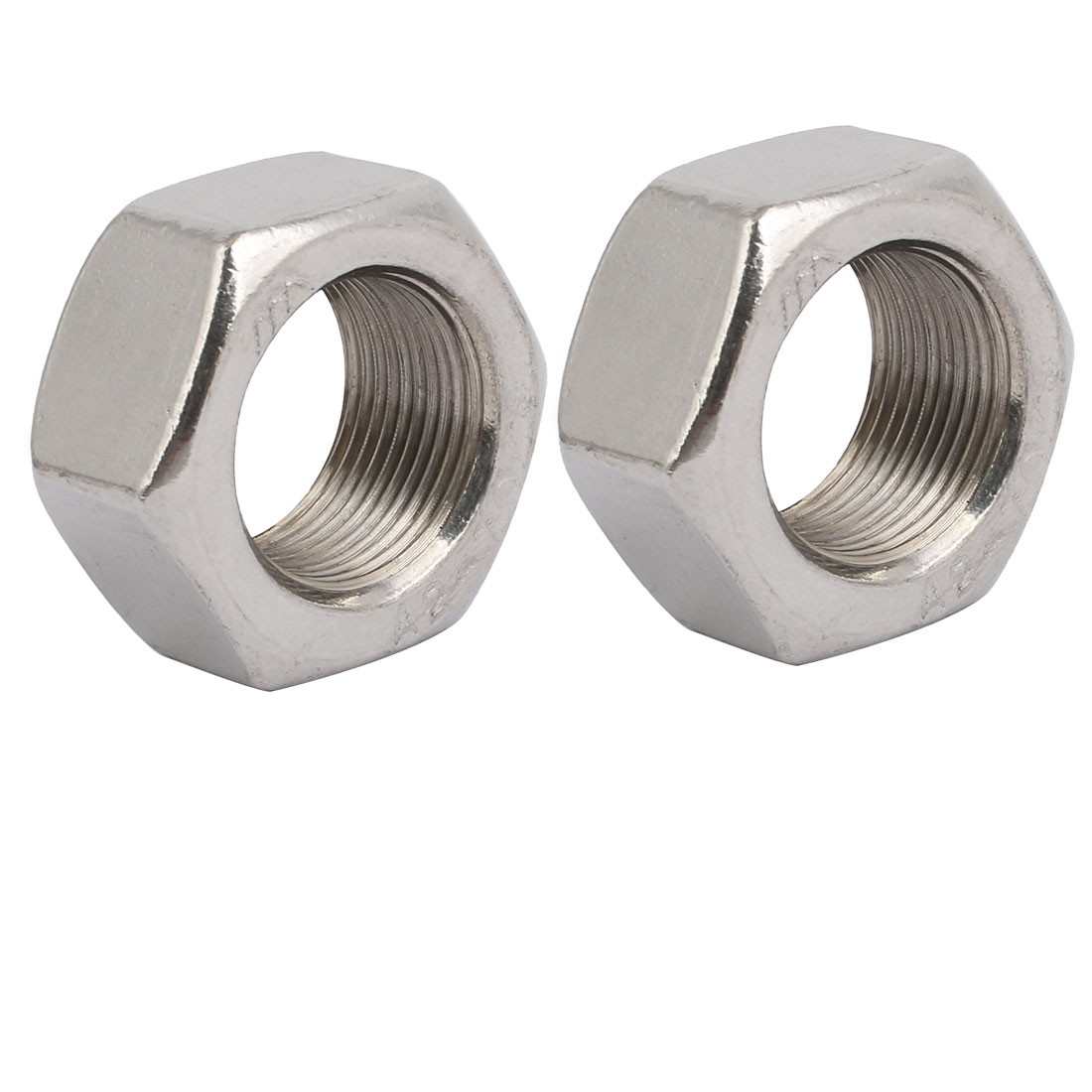 2pcs M24 x 1.5mm Pitch Metric Fine Thread 304 Stainless Steel Hex Nuts