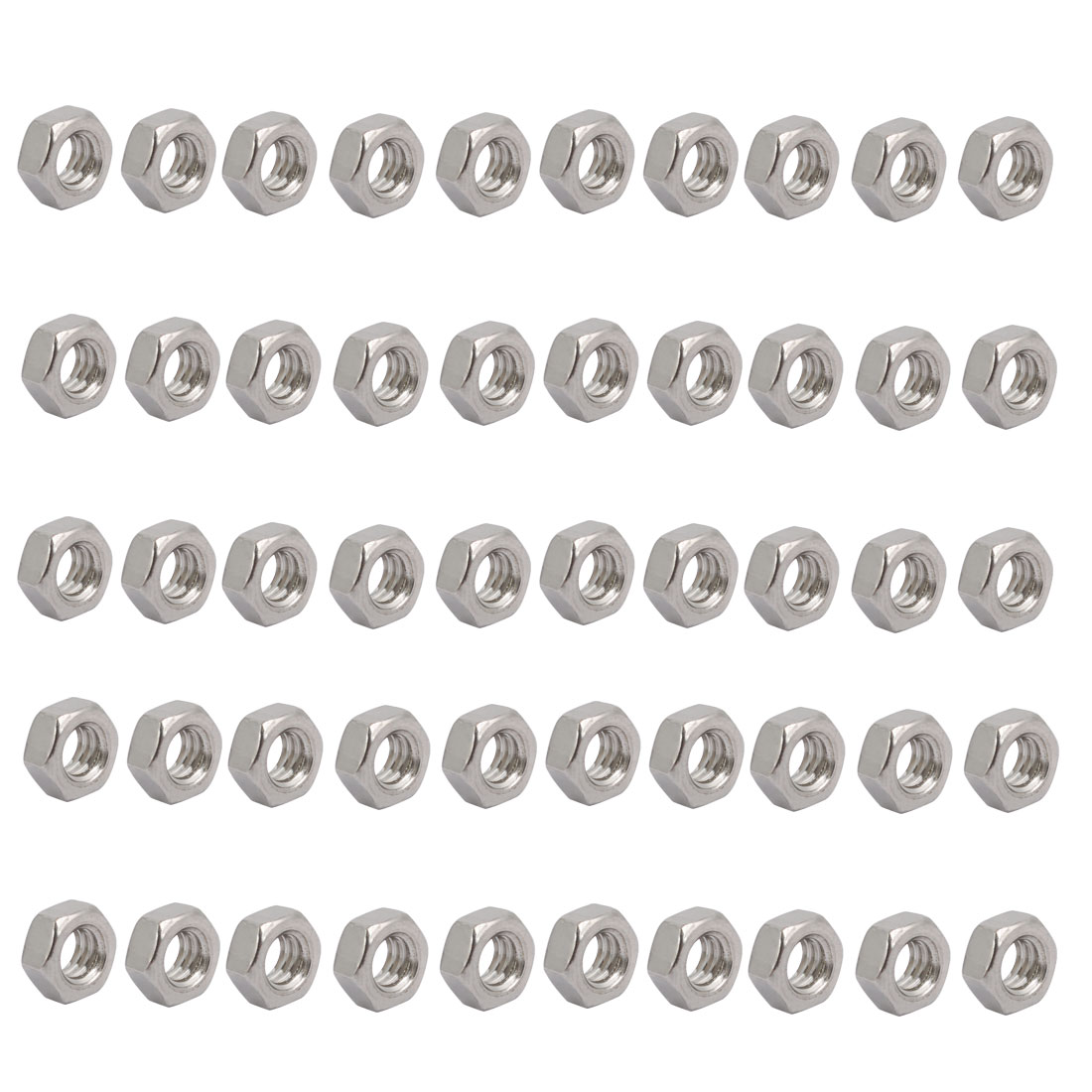 """50pcs 1/4""""-20 Thread UNC Type 304 Stainless Steel Hex Nut Fastener Silver Tone"""