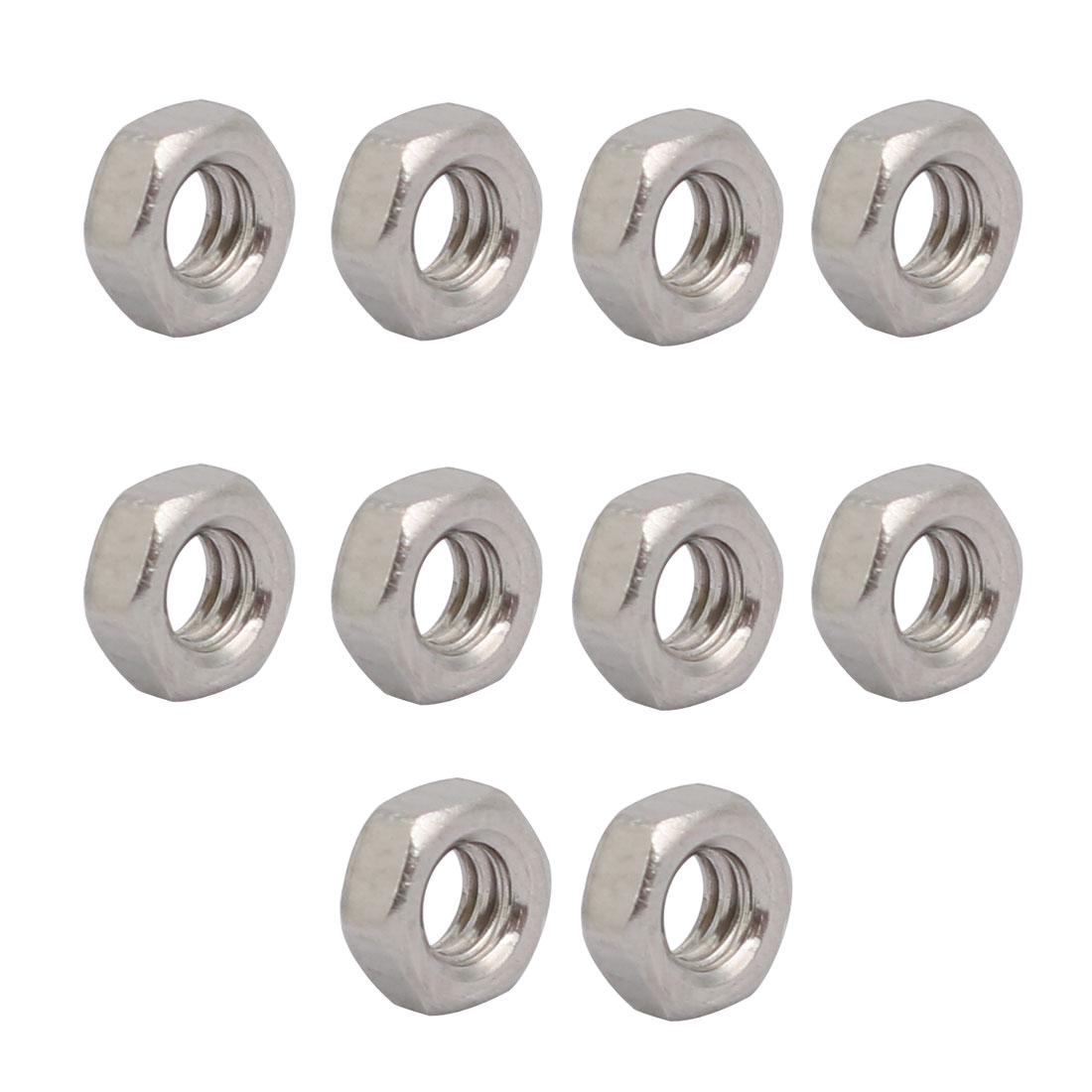 "10pcs 1/8""-40 BSW Thread 304 Stainless Steel Hex Nut Fastener Silver Tone"