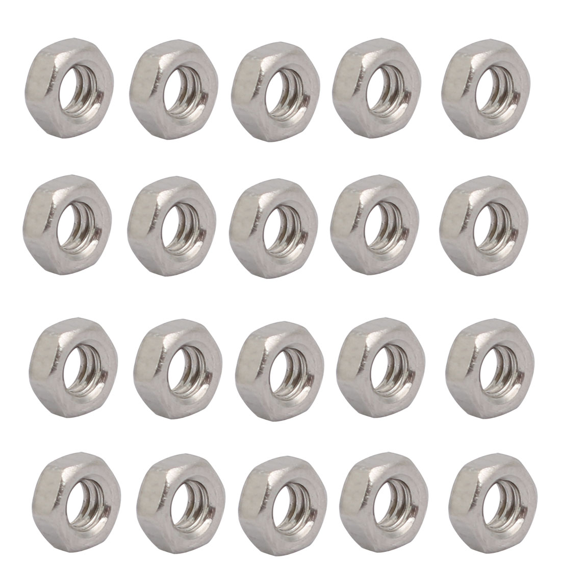 "20pcs 1/8""-40 BSW Thread 304 Stainless Steel Hex Nut Fastener Silver Tone"