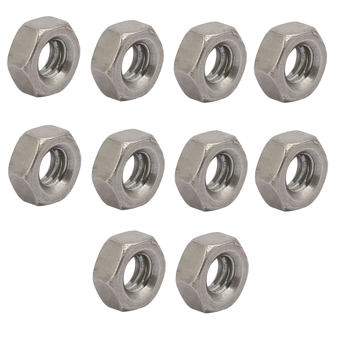 "10pcs 5/32""-32 BSW Thread 304 Stainless Steel Hex Nut Fastener Silver Tone"