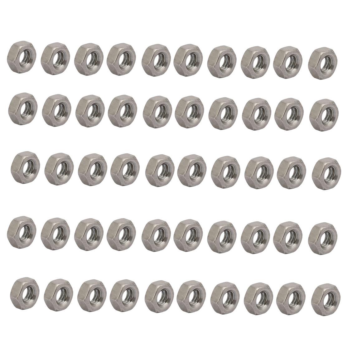 "50pcs 5/32""-32 BSW Thread 304 Stainless Steel Hex Nut Fastener Silver Tone"