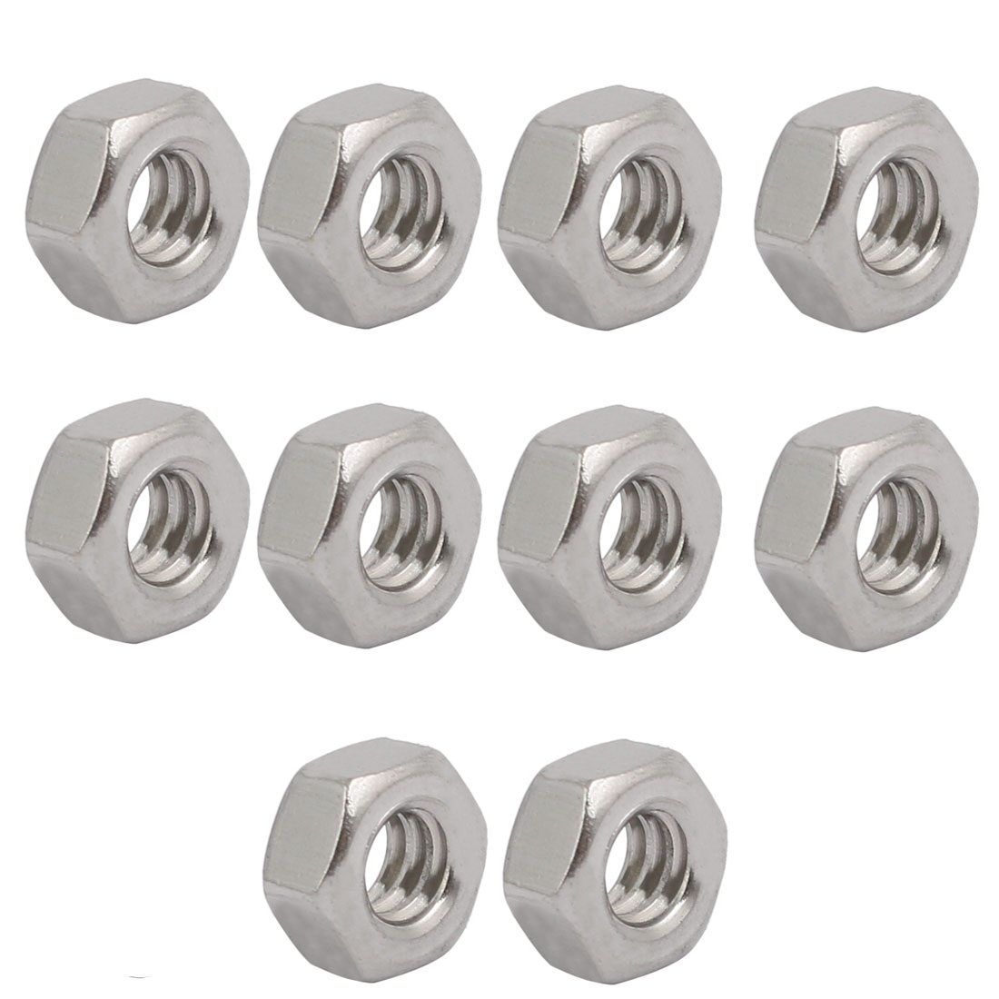 "10pcs 3/16""-24 BSW Thread 304 Stainless Steel Hex Nut Fastener Silver Tone"