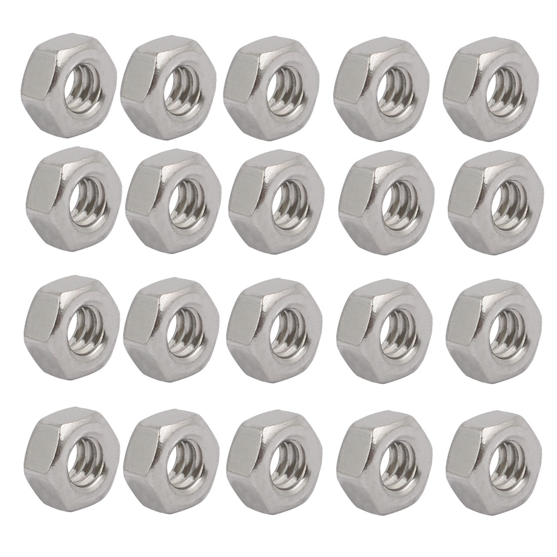 "20pcs 3/16""-24 BSW Thread 304 Stainless Steel Hex Nut Fastener Silver Tone"