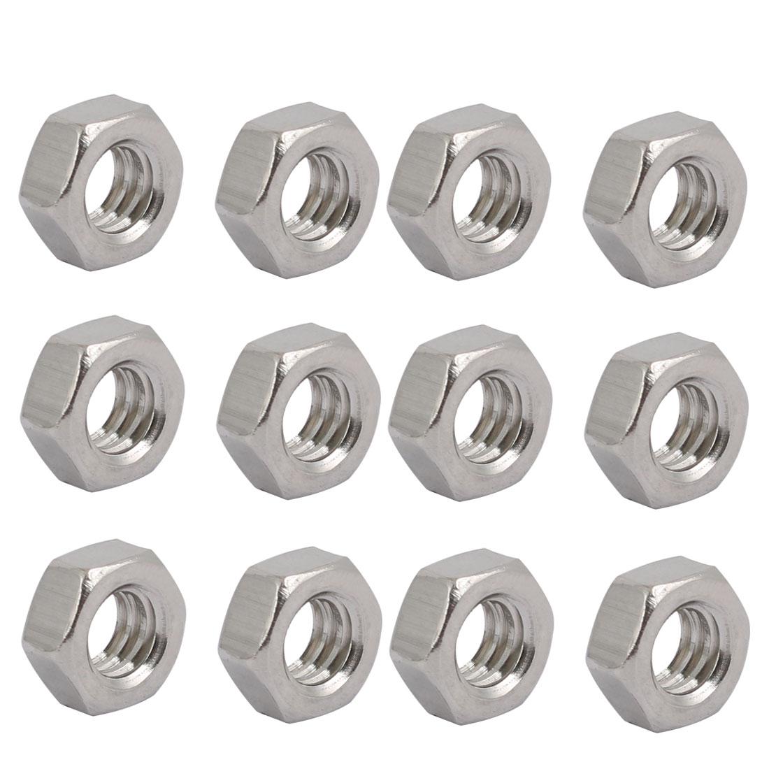 "12pcs 1/4""-20 BSW Thread 304 Stainless Steel Hex Nut Fastener Silver Tone"