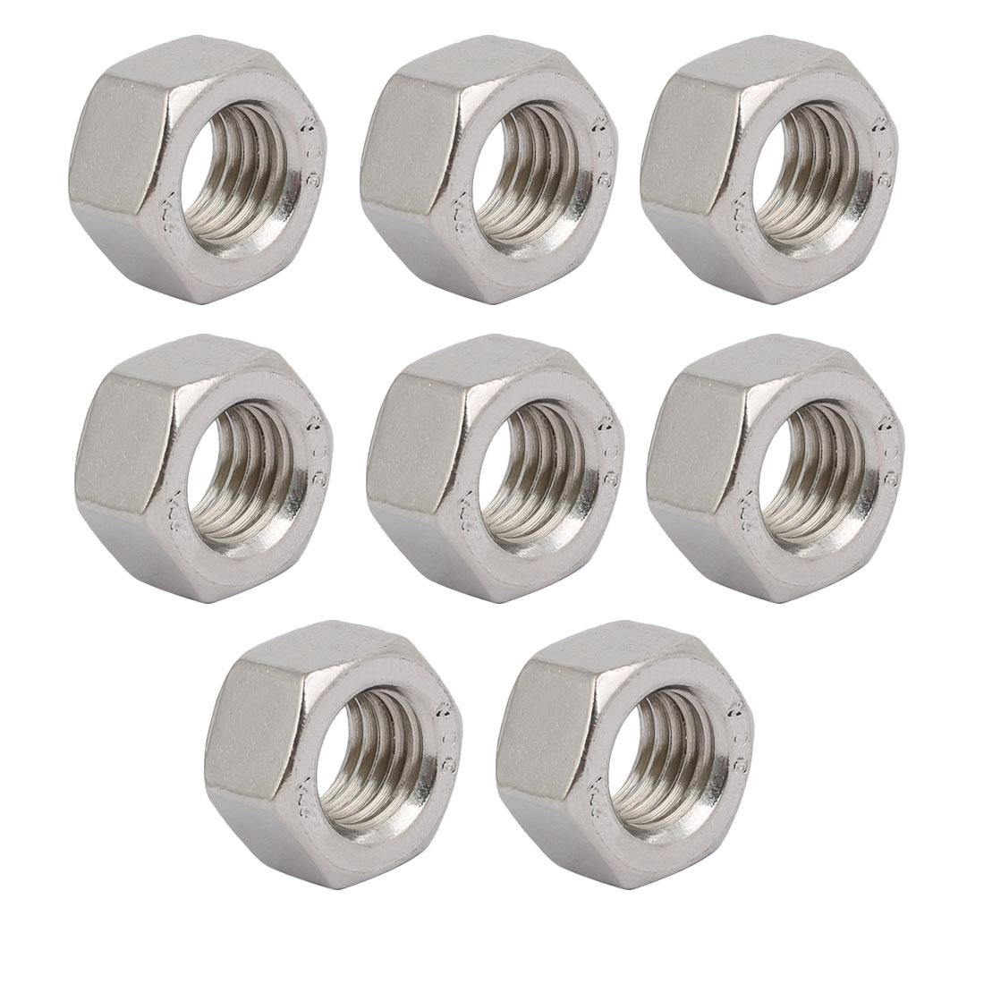 "8pcs 5/8""-11 BSW Thread 304 Stainless Steel Hex Nut Fastener Silver Tone"