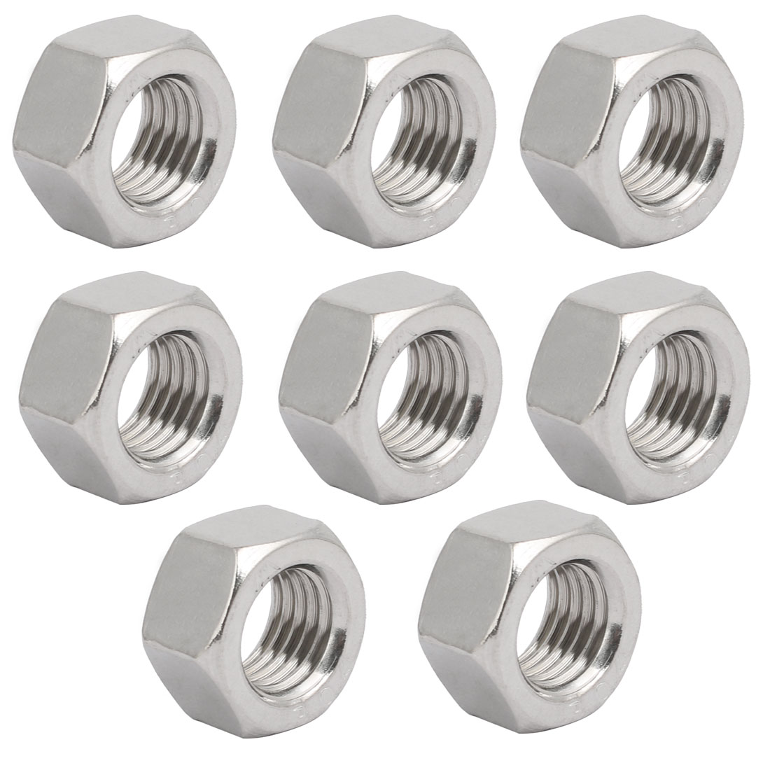 "8pcs 3/4""-10 BSW Thread 304 Stainless Steel Hex Nut Fastener Silver Tone"