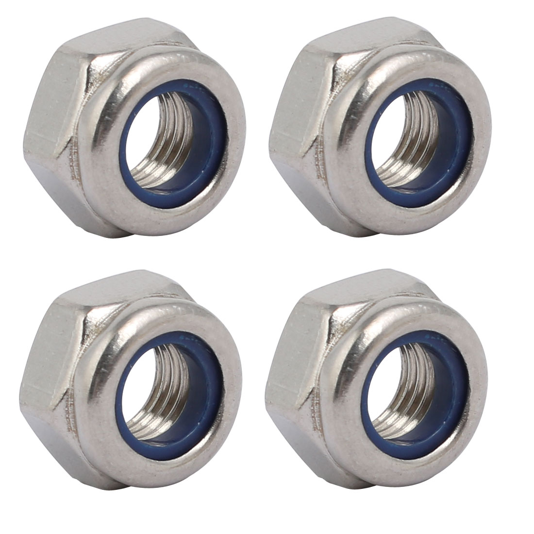 4pcs M8 x 1mm Pitch Metric Fine Thread 304 Stainless Steel Hex Lock Nuts