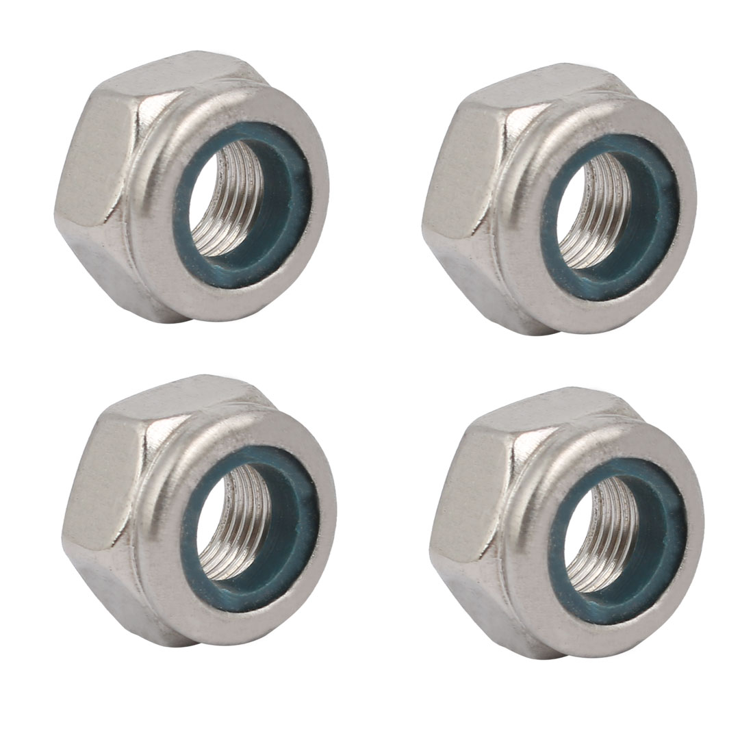 4pcs M10 x 1mm Pitch Metric Fine Thread 304 Stainless Steel Hex Lock Nuts