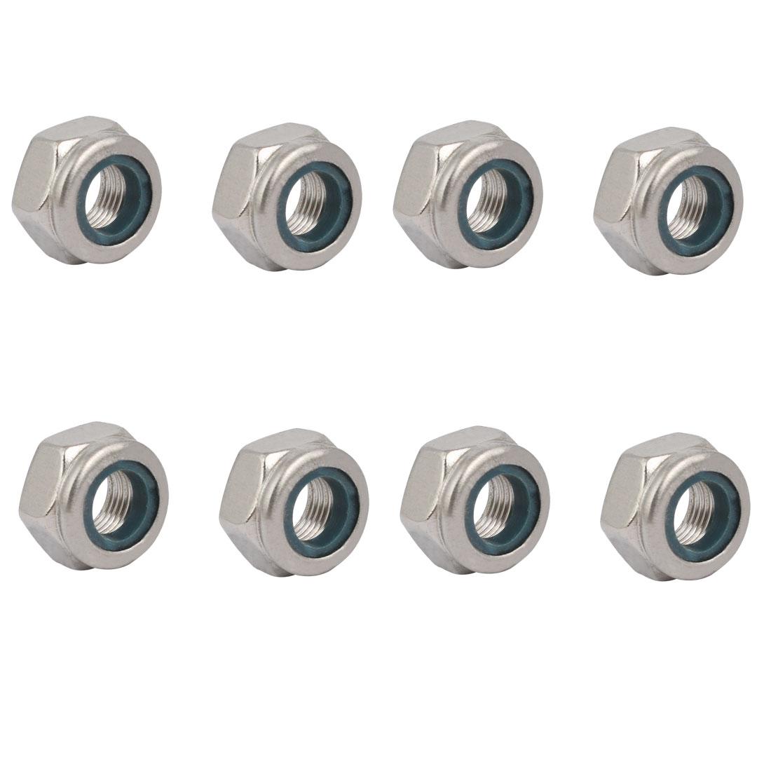 8pcs M10 x 1mm Pitch Metric Fine Thread 304 Stainless Steel Hex Lock Nuts
