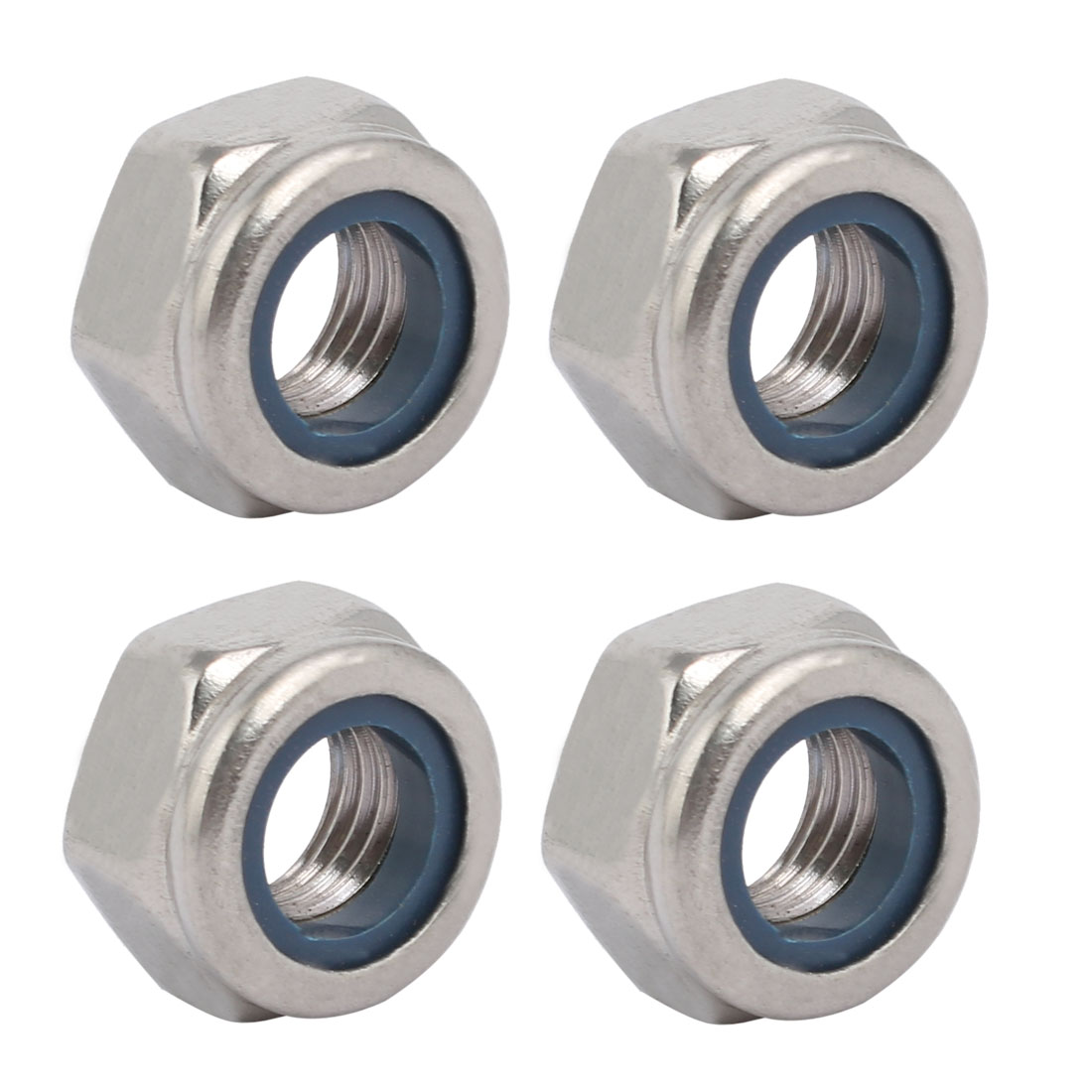 4pcs M10 x 1.25mm Pitch Metric Fine Thread 304 Stainless Steel Hex Lock Nuts