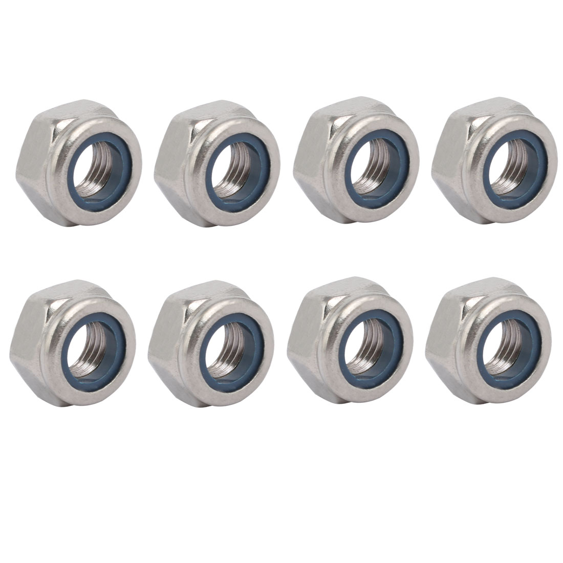 8pcs M10 x 1.5mm Pitch Metric Fine Thread 304 Stainless Steel Hex Lock Nuts