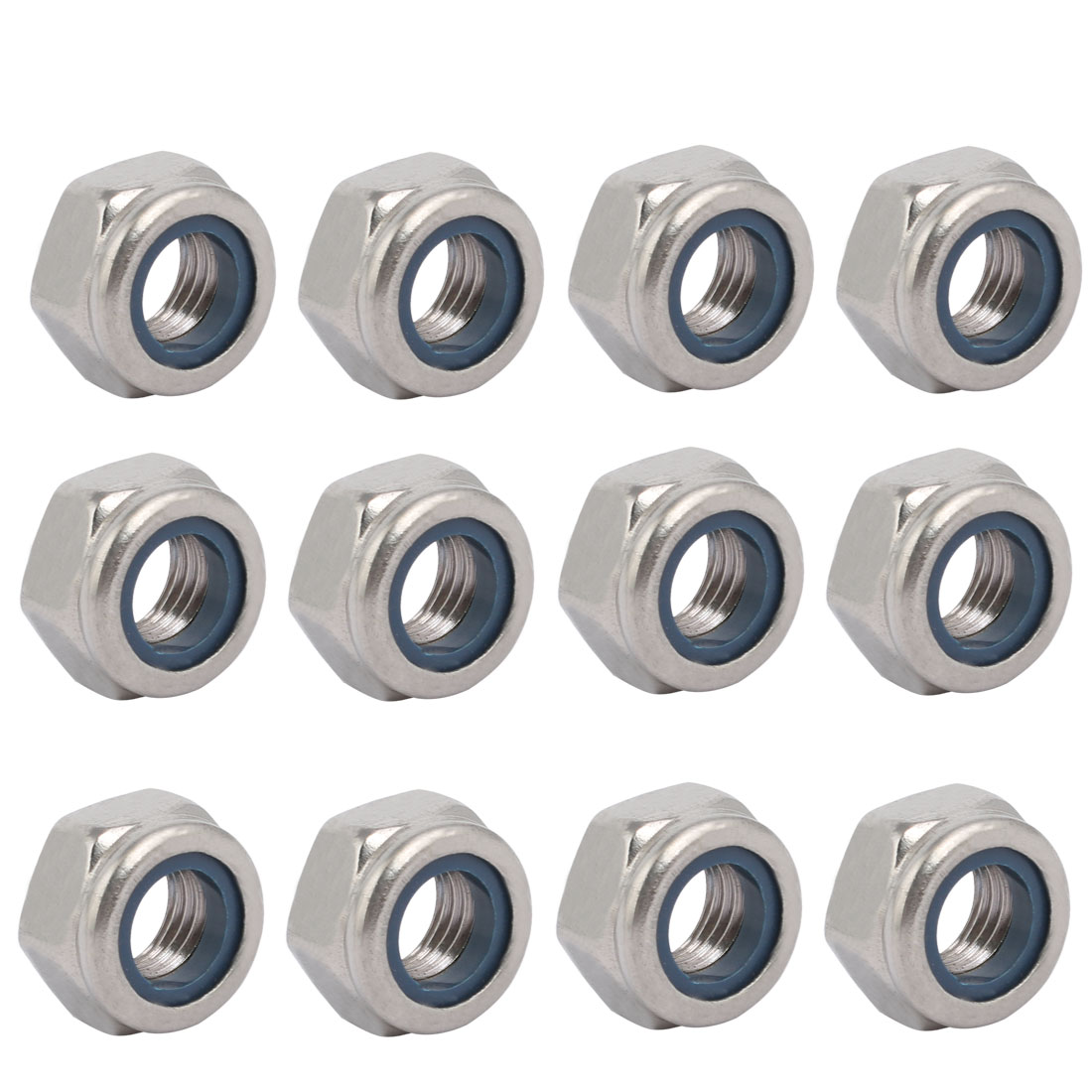 12pcs M10 x 1.25mm Pitch Metric Fine Thread 304 Stainless Steel Hex Lock Nuts