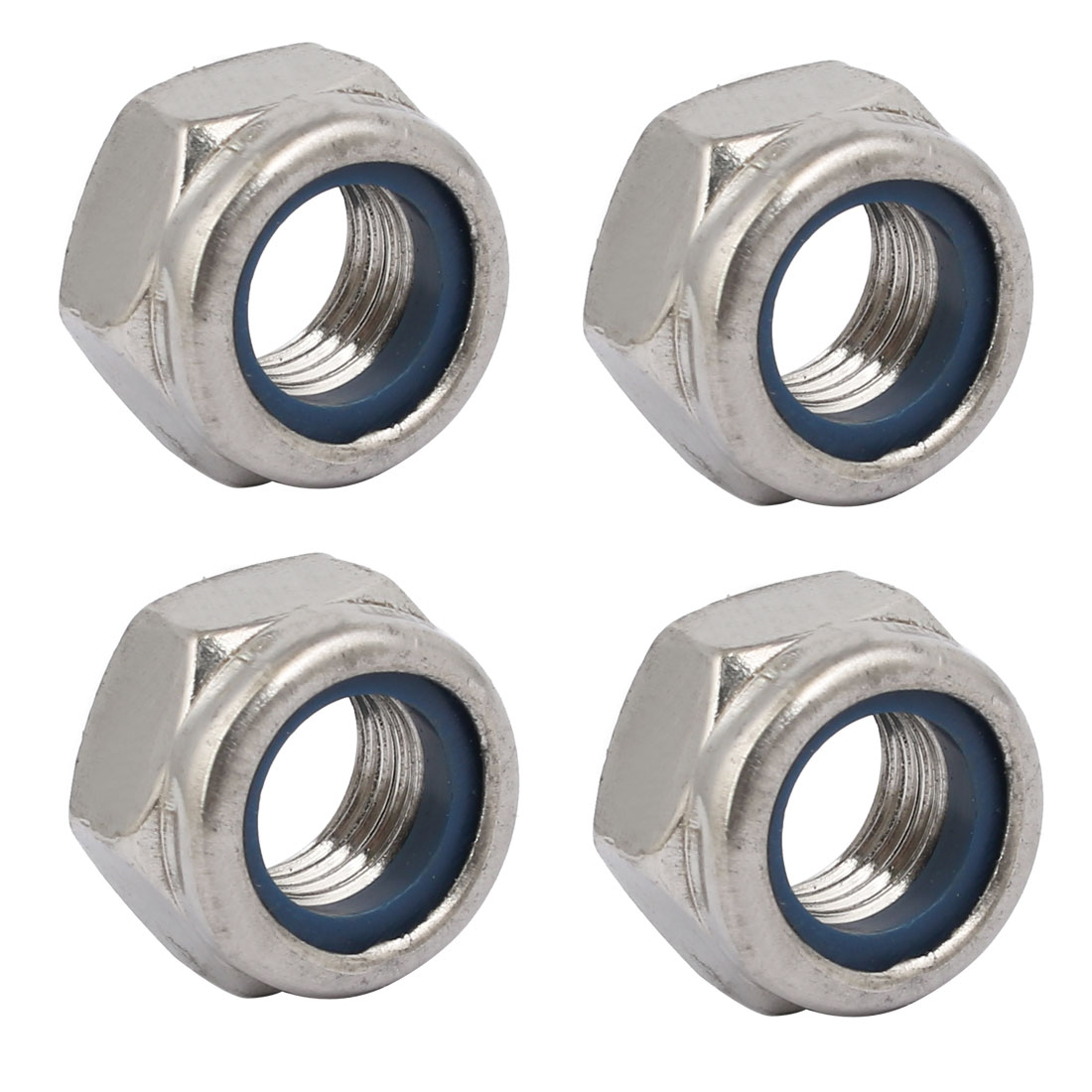 4pcs M12 x 1.5mm Pitch Metric Fine Thread 304 Stainless Steel Hex Lock Nuts