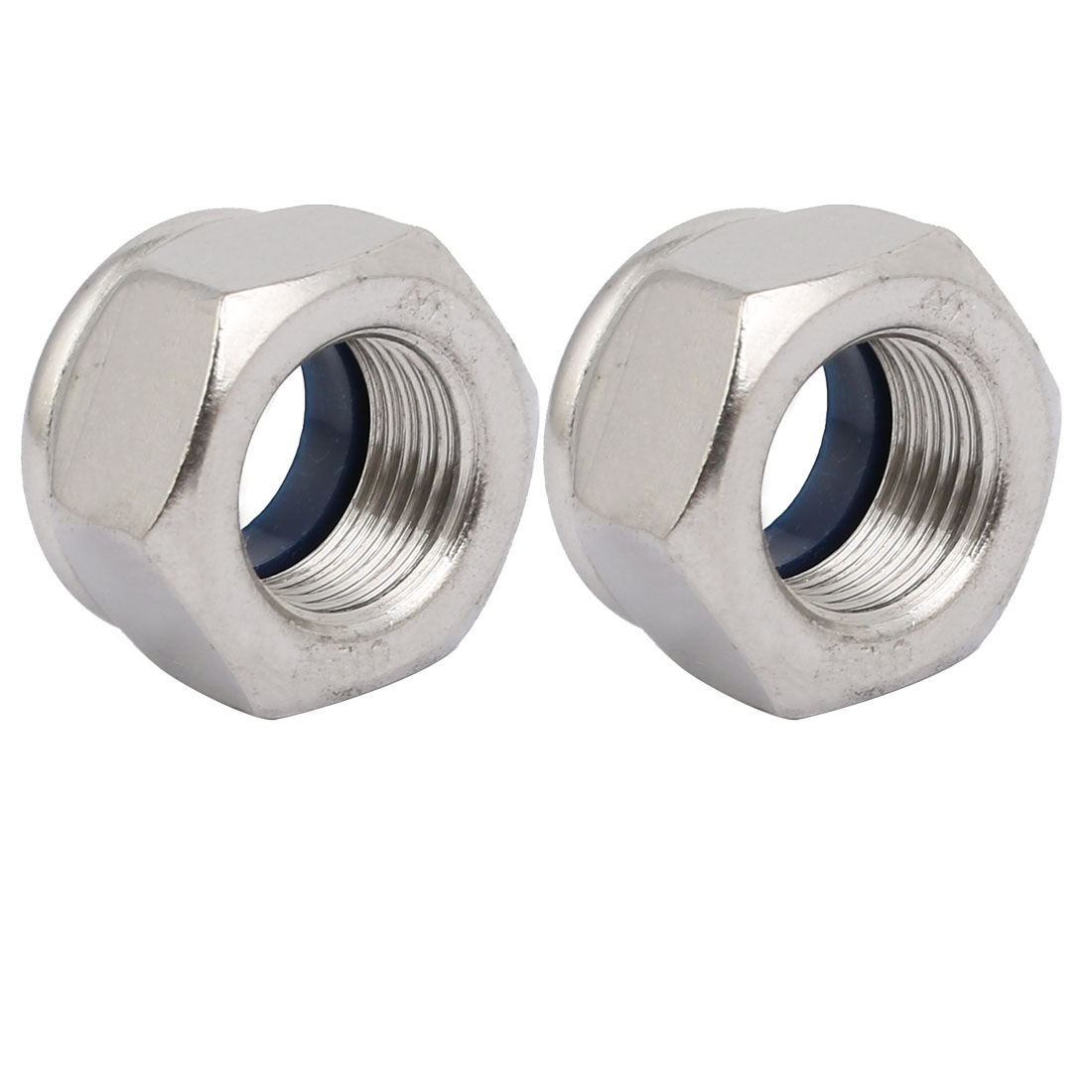 2pcs M16 x 1.5mm Pitch Metric Fine Thread 304 Stainless Steel Hex Lock Nuts