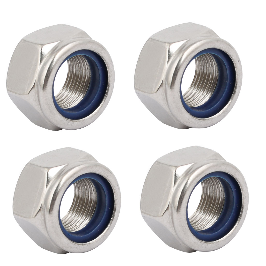 4pcs M18 x 1.5mm Pitch Metric Fine Thread 304 Stainless Steel Hex Lock Nuts