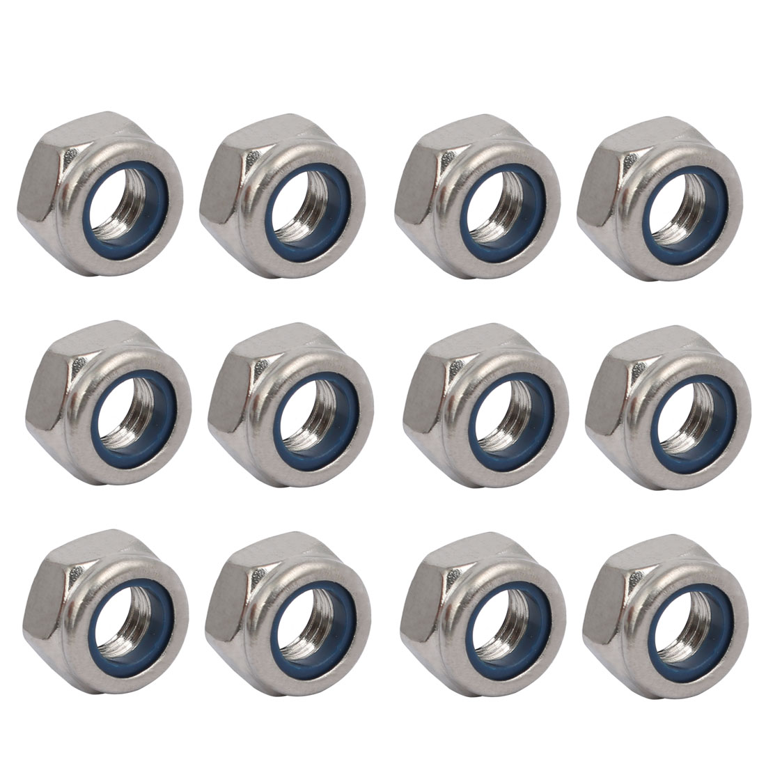 12pcs M8 x 1.25mm Pitch Metric Thread 304 Stainless Steel Left Hand Lock Nuts