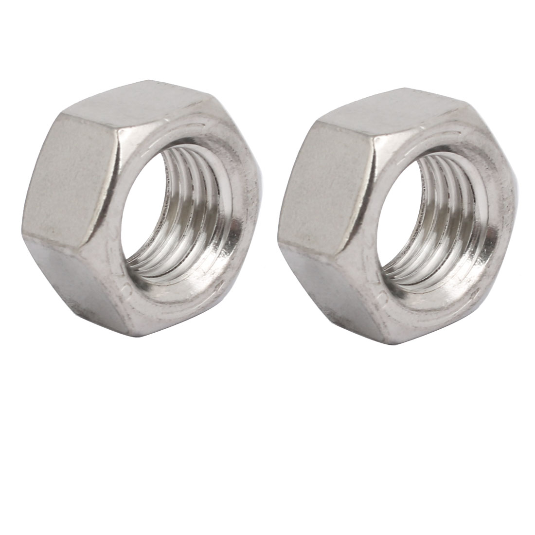 2pcs M20 x 2.5mm Pitch Metric Thread 304 Stainless Steel Left Hand Hex Nuts