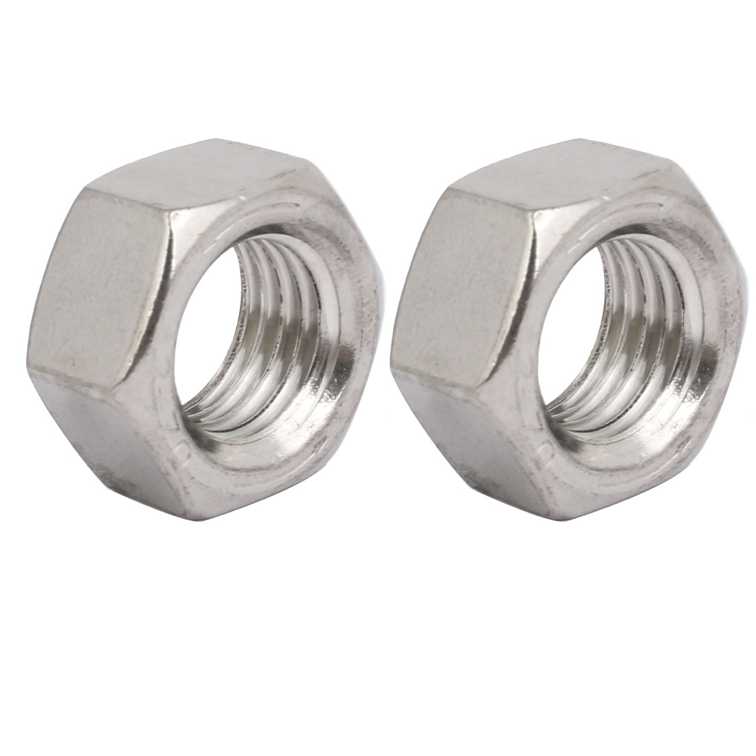 2pcs M20 x 2.5mm Pitch Metric Thread 201 Stainless Steel Left Hand Hex Nuts