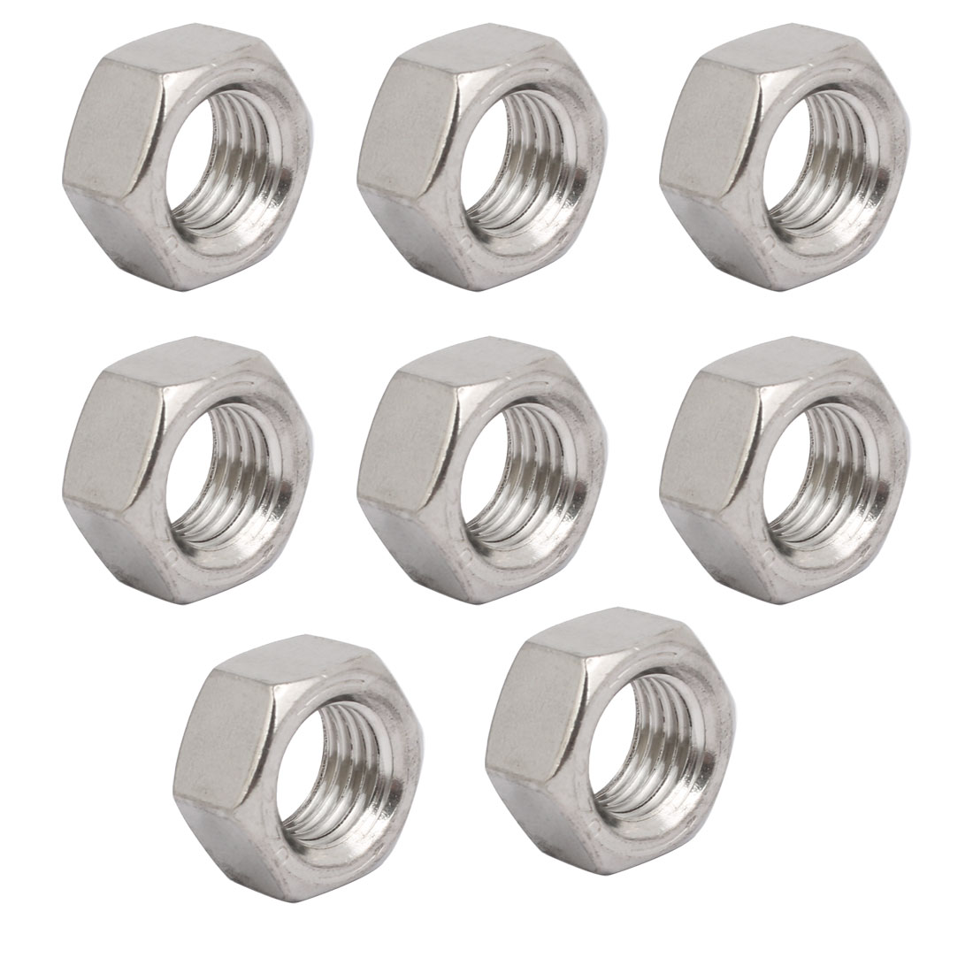 8pcs M20 x 2.5mm Pitch Metric Thread 201 Stainless Steel Left Hand Hex Nuts