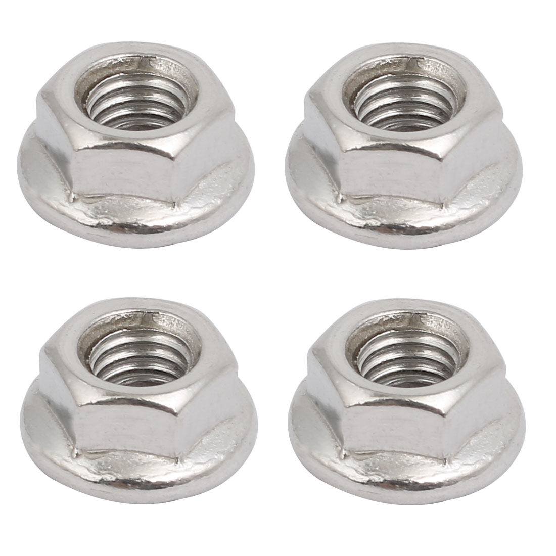 4pcs M6x1mm Pitch Metric Thread 304 Stainless Steel Left Hand Hex Flange Nut